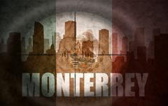 Stock Illustration of sniper scope aimed at the abstract silhouette of the city with text Monterrey