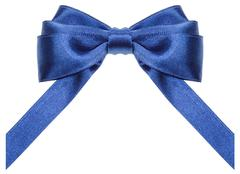 Symmetric blue ribbon bow with vertically cut ends Stock Photos