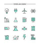 Set of flat design, thin line power and energy icons Piirros