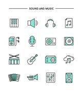 set of flat design, thin line sound and music icons - stock illustration
