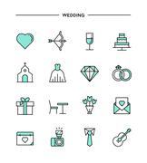 Set of flat design, thin line wedding icons Stock Illustration
