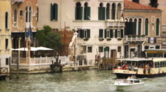 Boats and waterfront buildings in Venice Stock Footage