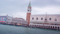 Tracking shot of the Piazza San Marco in Venice from water bus. Stock Footage