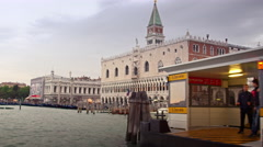 Approaching Piazza San Marco in Venice from south in water taxi. Stock Footage