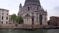 Santa Maria della Salute from canal in Venice. Stock Footage