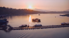 Way of life at Samprasob river,Kanchanaburi Thailand Stock Footage