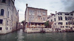 Venetian hotel and water alleyway on the Grand Canal. Stock Footage
