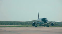 Stock Video Footage of Brussels airlines A320 taxiing on apron