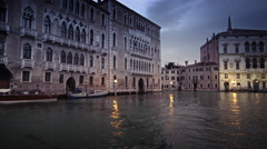 Tracking footage of the west bank of a bend in the Grand Canal. Stock Footage