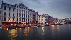 Tracking footage of lighted shops by Venice bridge. Stock Footage