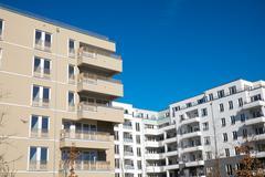 Modern apartments seen in Berlin Stock Photos