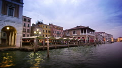 Tracking shot of covered pedestrian area on Grand Canal Stock Footage
