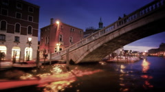 Tracking shot of Ponte Scalzi and San Simeone Piccolo on the Grand Canal Stock Footage