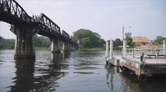 Kwai river bridge and pier Stock Footage