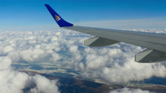 View from the window of the ascending airplane - stock footage