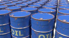 Stock Illustration of large number of dirty worn scratched oil barrels