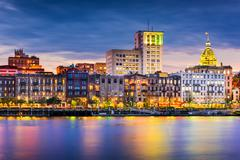 Savannah Georgia Skyline Stock Photos