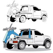 Tow Truck Drawing Stock Illustration