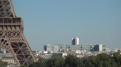 Tour Eiffel France Symbol Closeup City Buildings Tourists Holiday Destinations Stock Footage