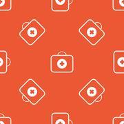Orange first aid kit pattern - stock illustration