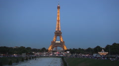 Eiffel Tower View Lights Evening Tourist Visit France Night Symbol Stock Footage