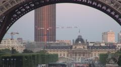 France Paris Symbol Tour Eiffel Square International Tourism Panoramic Buildings Stock Footage