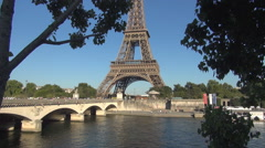 Tour Eiffel Panoramic Landscape Iena Bridge Seine River Tower Touristic Trip Stock Footage