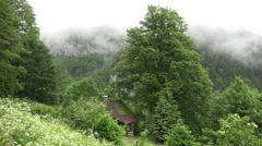 Clouds timelapse and house in green alps forest meadow Stock Footage