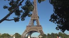 Tour Eiffel Champ De Mars Park Tourism France Historical Tower Paris Landscape - stock footage