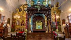 Greek-orthodox church interior Stock Footage
