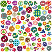 Many colored ornamental buttons - stock illustration