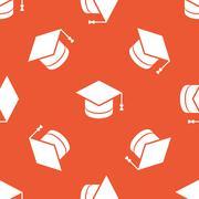 Orange academic hat pattern - stock illustration
