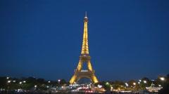 France Tour Eiffel Evening View Lights Tourism Paris Night Symbol - stock footage