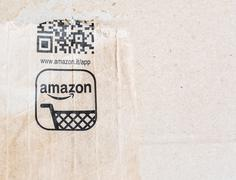 detail of delivered Amazon parcel - stock photo
