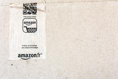 Detail of delivered Amazon parcel Stock Photos