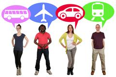 Group of young people choosing bus, train, car or plane Stock Photos