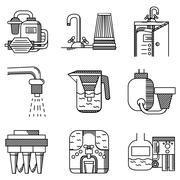 Water filters flat line vector icons - stock illustration