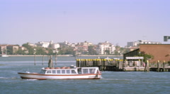 Tight panning shot of the east side of Giudecca from across the canal at a Stock Footage