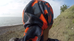 Hiking trip destination summer wild beach POV of male traveler Stock Footage