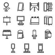 Advertising elements simple line vector icons - stock illustration