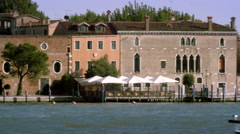 Tight panning shot of the Giudecca from across the canal at a marina. Stock Footage