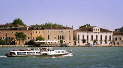 Tight panning shot of the Giudecca from across the canal. Stock Footage