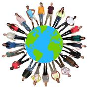 Happy multicultural multi ethnic group of young people on world earth Stock Photos