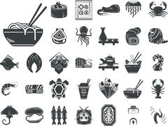 Seafood menu black monochrome vector icons Stock Illustration