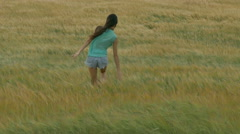 Girl goes on a wheat field in strong wind - stock footage