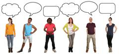 Group of young people saying opinion with speech bubble and copyspace - stock photo