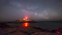Nubble Lighthouse Milky Way Rising Stock Footage