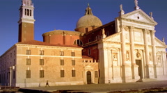 Slow motion tracking shot of the front of the Church of San Giorgio Maggiore Stock Footage