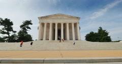 Tourists Visit the Jefferson Memorial Stock Footage