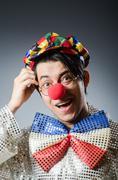 Funny clown against dark background Kuvituskuvat